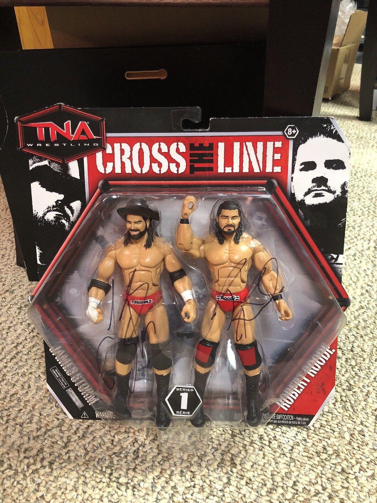 James Storm & Robert Roode Beer Money TNA Cross The Line Figures Autographed