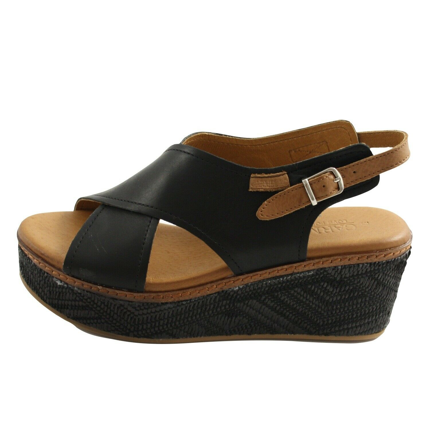 Shoes Sandals Summer Carmela Ladies Black Leather and Leather Brown Wedge Comfortable