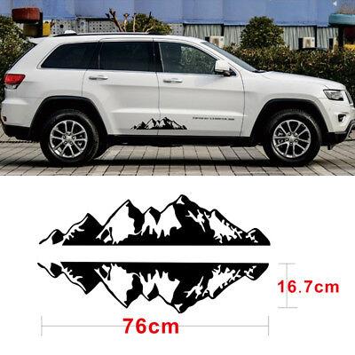 2pcs Black Vinyl Car SUV Sticker Mountain Range Decals Covers