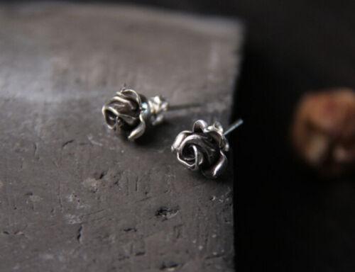 B25 Ohrringe Rose Knospe Sterling Silber 925
