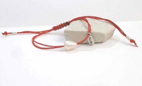 """Pulsera minimalista /""""Perla/"""" perla natural con hilo rojo de 1 mm artesanal"""