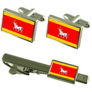 Marijampole City Lithuania Flag Cufflinks Tie Clip Box Gift Set