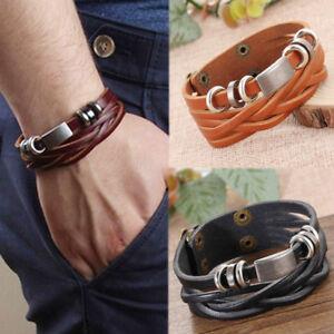 Vintage-Metal-Bracelet-Cuir-Tresse-Bracelet-Wristband-Bijoux-Homme-Garcon-Cadeau