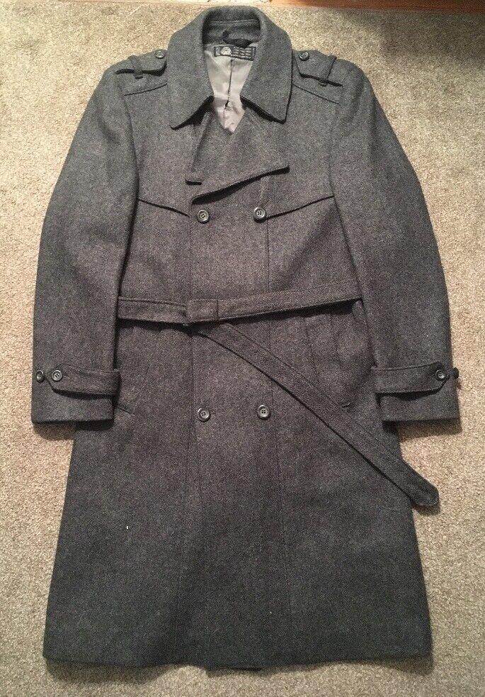 Vintage  Herren American Male 100% Pure New Wool grau Trench Coat