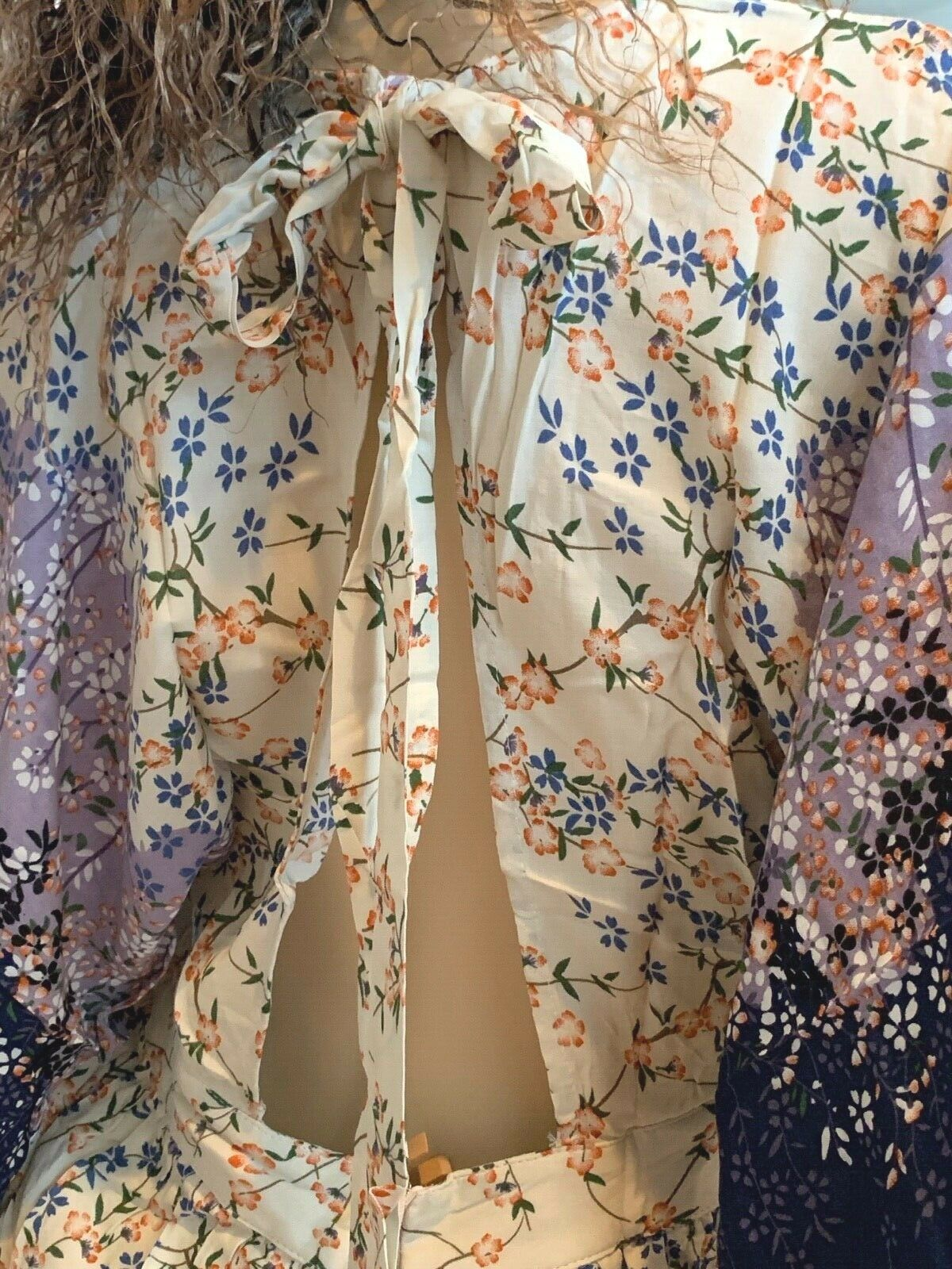 Image 3 of Dainty Floral Ivory Cream and Purple Romantic Maxi Dress S M or L, Lola's