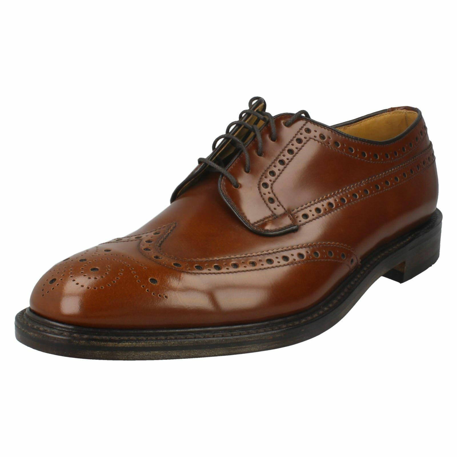 Mens Braemar Loake tan leather lace-up F fitting