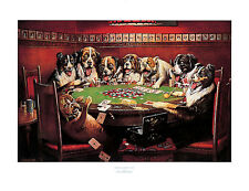 CLASSIC DOGS PLAYING POKER DECOR ART PRINT BY C.M. COOLIDGE POPULAR POSTER