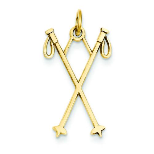 14K Yellow Gold Ski Poles Charm Pendant MSRP $111