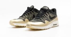 Nike Air Max 1 Ultra 2.0 FK Flyknit Womens SZ 6 Metallic Black Gold [881195 001]