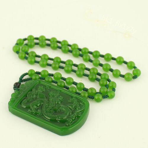 2018 Fashion Natural Green Jade Dragon Pendant Necklace Charm Jewelry Amulet Hot
