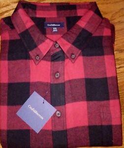 Men S Croft Barrow Signature Red Black Buffalo Flannel Shirt L Xl