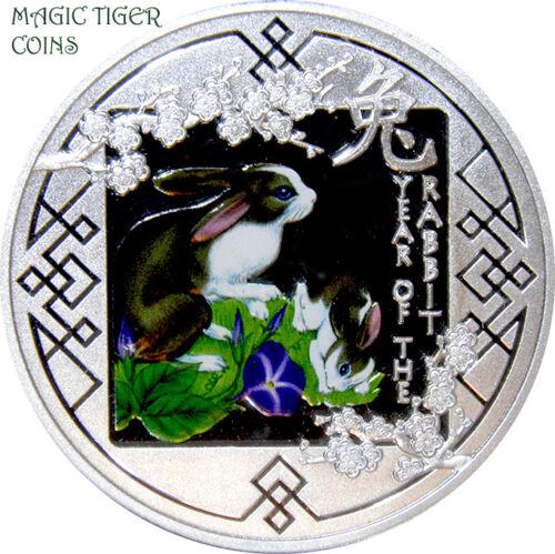 "rare! 2011 Rwanda /""Year of the Rabbit/"" Spring Silver Proof Coin"