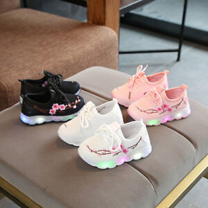 Kids-Baby-Boys-Girls-Embroidery-Sport-Running-LED-Luminous-Mesh-Shoes-Sneakers