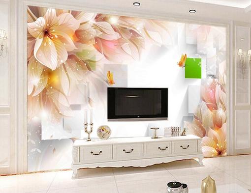 3D Flowers Pattern Grid 06 Wall Paper Wall Print Decal Wall AJ WALLPAPER CA