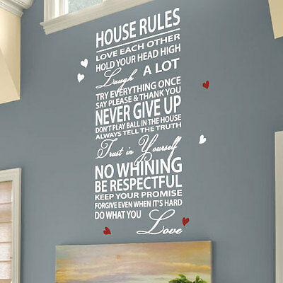 House Rules Family Love Heart Art Wall Stickers Quotes Wall Decals Wall Deco