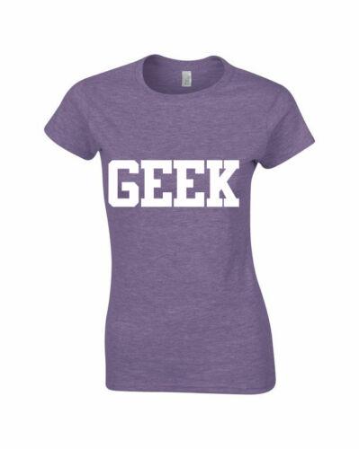 Womens GEEK Print Girls Celebrity Ladies T Shirt Top Sizes 8 10 12 14 16 18 NEW