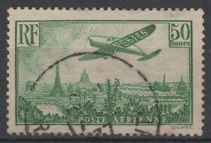 FRANCE-AERIEN-N-14-034-AVION-SURVOLANT-PARIS-50F-VERT-JAUNE-034-OBLITERE-TTB-N947