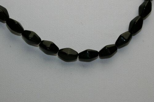 Strang 64 cm schwarze doppel pyramide Glasperlen aus Böhmen 6 mm