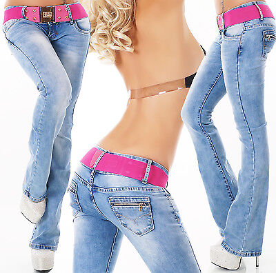 Blue Hipster Jeans Low Cut  Bootcut jeans Pants belt Included Size 6,8,10,12,14