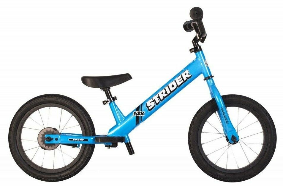 STRIDER 14x Sport 2 in 1 blueE Balance Bike w Pedal Kit Learn To Ride