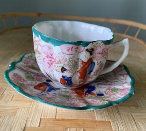 🟢 Vintage Geisha Pine Green Demitasse Cup and Saucer w/scalloped Rim Rare