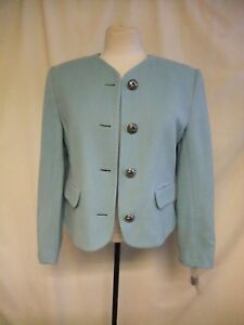 Ladies Blue Jacket Colour 7433 Short Ice Charles Blend Fitted Uk Grey Wool 10 rrBTOx