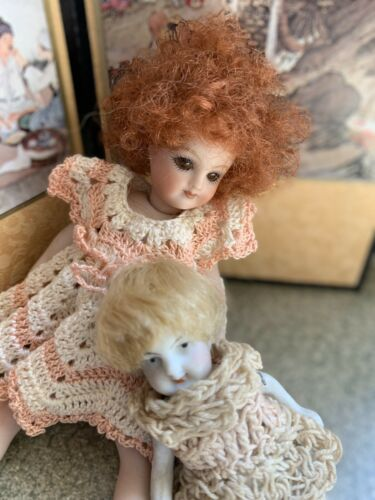 Lot of 3  mohair doll WIGS for antique bisque German French Mignonette doll