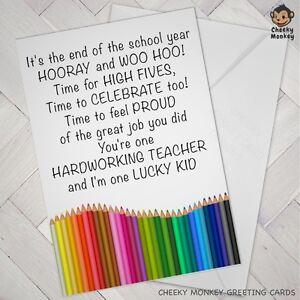 teacher card best teachers thank you hard working nicest cards boy