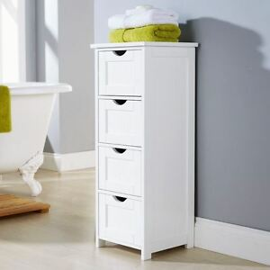 White bathroom cabinet chest of drawers tall storage unit - White tall bathroom storage unit ...