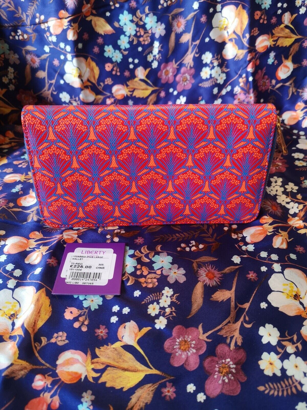 Liberty Iphis Large Wallet Red Orange Blue RRP 225