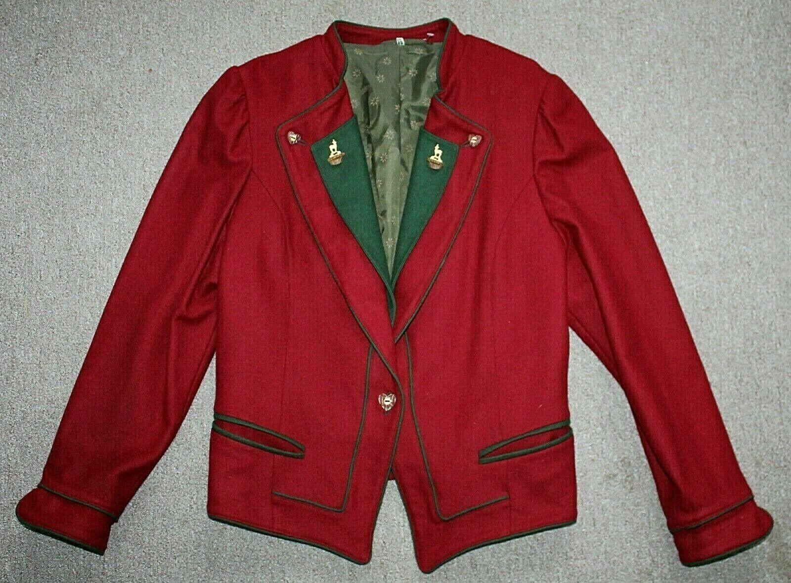 Vestido corto H Moser Lana Rojo  para Mujer de equitación Tyroler Trachten Loden Chaqueta 42 M  Envío y cambio gratis.