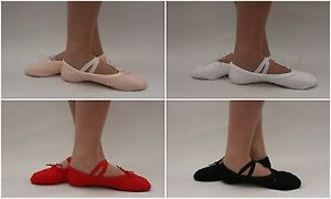 Ballet-Shoes-Dance-Canvas-Adults-Childrens-Size-Pink-Black-Red-White-Slippers