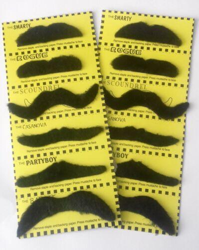 12 fancy dress MOUSTACHES Stick on Fake Tash Moustache False Mexican Movember