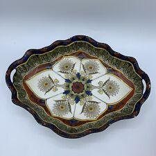 Vtg Porcelain China Noritake Hand Painted Arts Crafts Style Handled Dish Japan