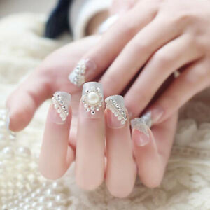 Details Sur 24pcs Set Rhinestone Decor Wedding Bride Nail Art Tips False Nails Full Co Iy