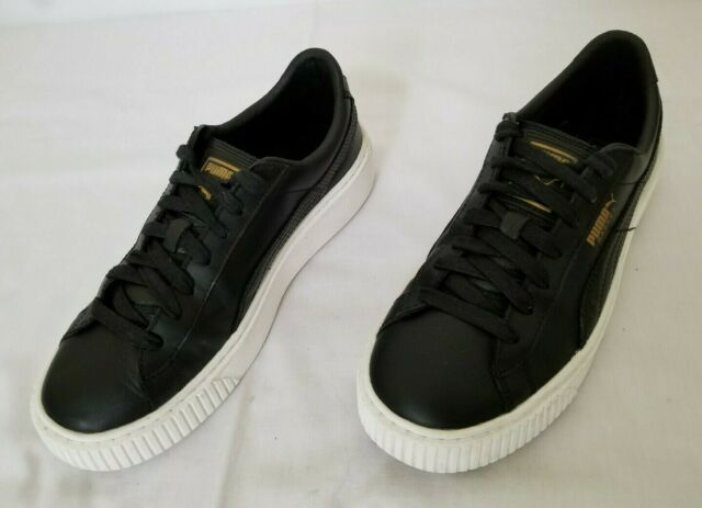 reputable site d208f 8619e Womens Size 8.5 Black Puma Basket Platform Core Leather Sneakers 364040 03  used
