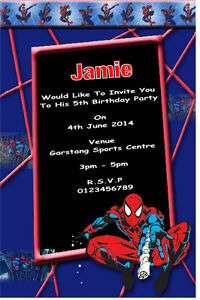 10 Personalised Spiderman Party Invitations Thank You Cards Ebay