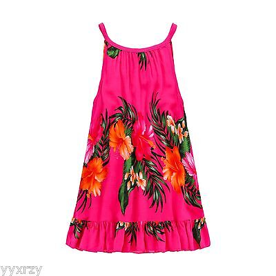 Aloha Summer Beach Hawaiian Cruise Luau Tank Ruffle Girl Dress Hot Pink Floral