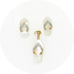 14k yellow gold diamondflip flop slipper mother of pearl earring image is loading 14k yellow gold diamond flip flop slipper mother mozeypictures Choice Image