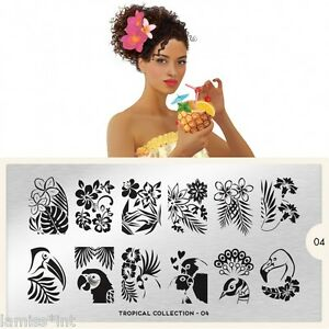 MoYou-London-TROPICAL-4-Collection-Stamping-Schablone-Blume-Hibiskus-Papagei-XL