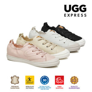 UGG Women Causal Flat Shoes Mousse Canvas Flat Lace Up Sneakers