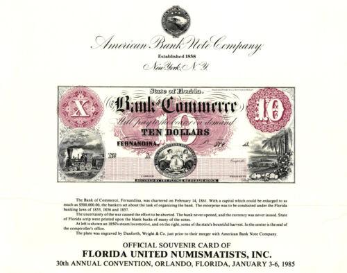 1985 ABNCo Souvenir Card $10.00 Bank of Fernandina, Florida - SO40