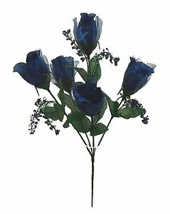 5 NAVY BLUE Roses Buds Silk Wedding Flowers Bouquets Centerpieces Bridal Bouquet
