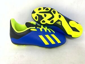 NEW-Adidas-Youth-Boy-039-s-X-18-4-FxG-Soccer-Cleats-Blue-Neon-Yellow-A22-tz