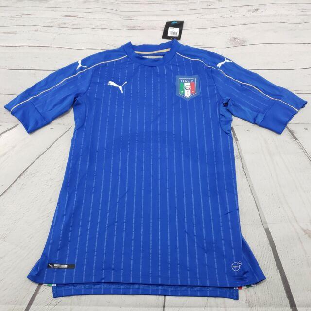 PUMA FIGC ITALIA Authentic Soccer ACTV Jersey Blue Home 2016 Size L