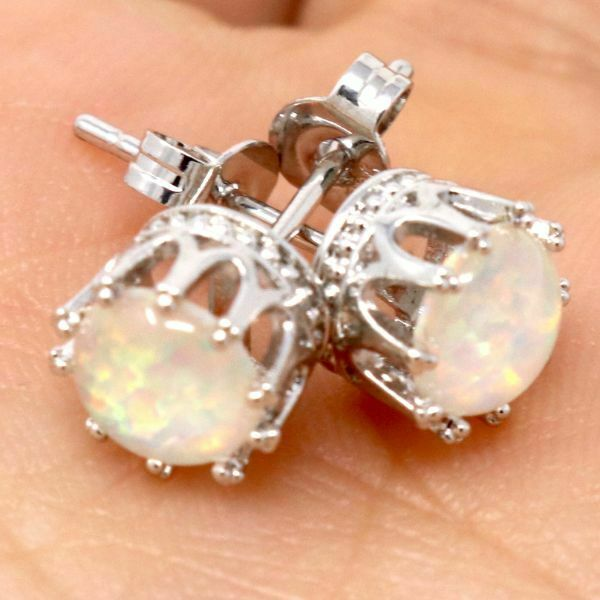 Gorgeous White Fire Opal Earrings Women Engagement Jewelry 14K White Gold Plated