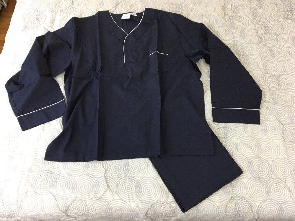 NEW Vermont Country Store Navy Broadcloth Cotton Mens Pajama Set Sz 2XL
