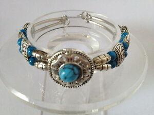 001 Beautiful Tibet Silver Turquoise Bead Bracelet
