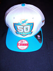 MIAMI-DOLPHINS-50-SEASONS-WHITE-SNAP-BACK-NEW-ERA-HAT-BRAND-NEW-RETAIL-36-00