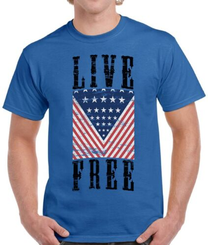 Live Free Men/'s T shirt Tops USA Flag America USA 4th of July